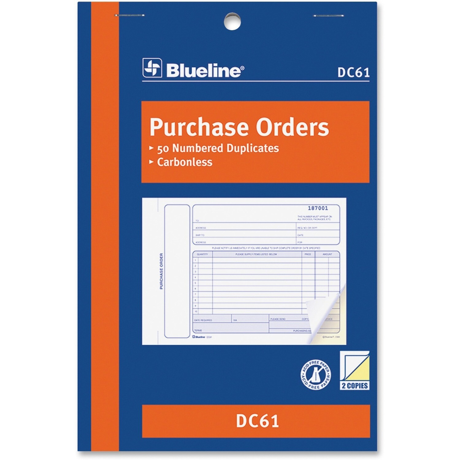 """Purchase Order Form Book, Blueline 50 Duplicates, 5 3/8"""" x 8"""""""