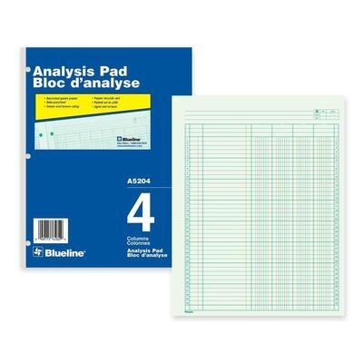 "4 Column Analysis Columnar Pad, Blueline 50 Pages, 8 1/2"" x 10 7/8"""