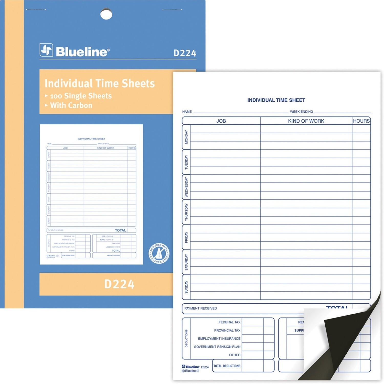 "Bilingual Time Sheet, Blueline 50 Duplicates, 5 3/8"" x 8"""