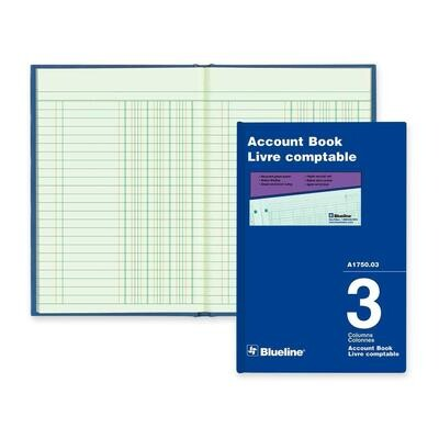 "3 Cloumn Miniature Accounting Book, Blueline Hard Cover, 5 43/64"" x 8 1/4"""