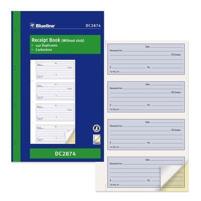 "Blueline Receipt Form Book, Blueline 200 Duplicates, 6 3/4"" x 11"""