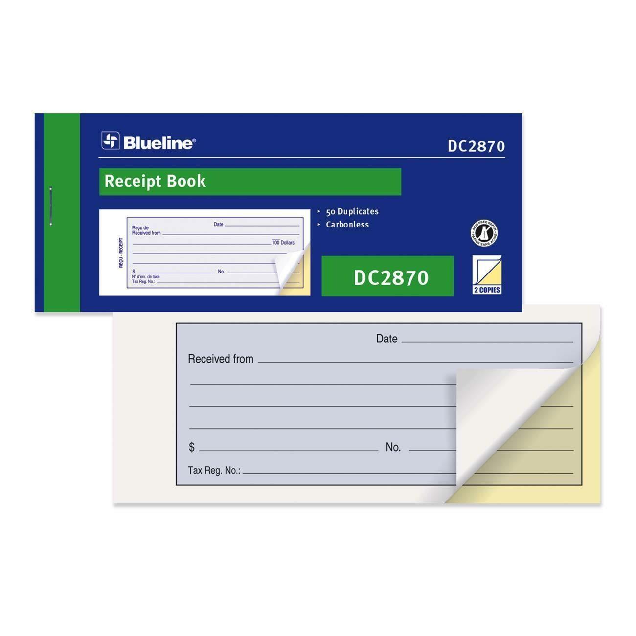 "Receipt Book, Blueline 50 Duplicates, 6 3/4"" x 2 3/4"""