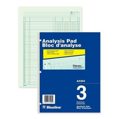 "3 Column Analysis Pad, Blueline 50 Duplicates, 8 1/2"" x 10 7/8"""