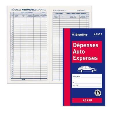 "Bilingual Auto Expense Log Book, Blueline 32 Pages, 3 1/2"" x 6 3/8"""