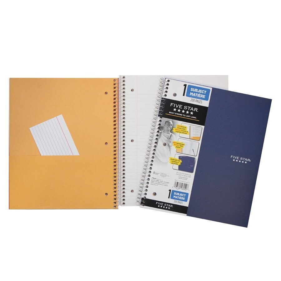 """Notebook, Lined, 8 1/2"""" x 11"""" Assorted Colours, 200 Pages, Five Star"""