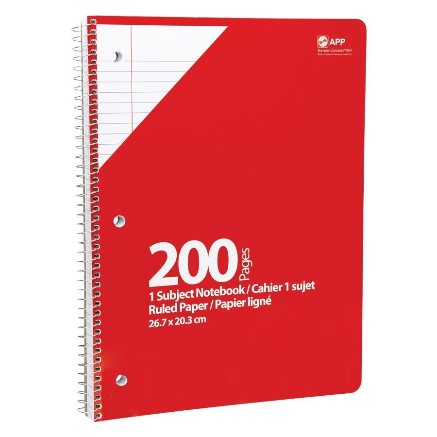 """Notebook, Lined, 8"""" x 10 1/2"""" Red, 200 Pages, APP"""