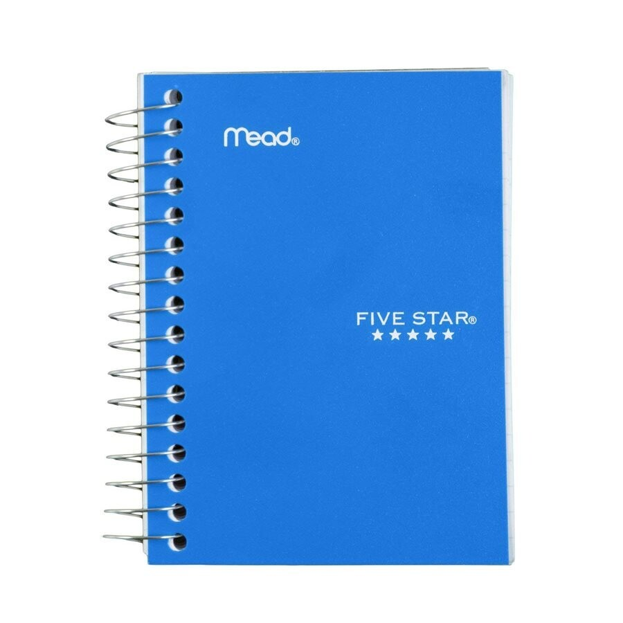 """Notebook, Lined, 4 1/8"""" x 5 1/2"""" Assorted Colours, 400 Pages, Five Star"""