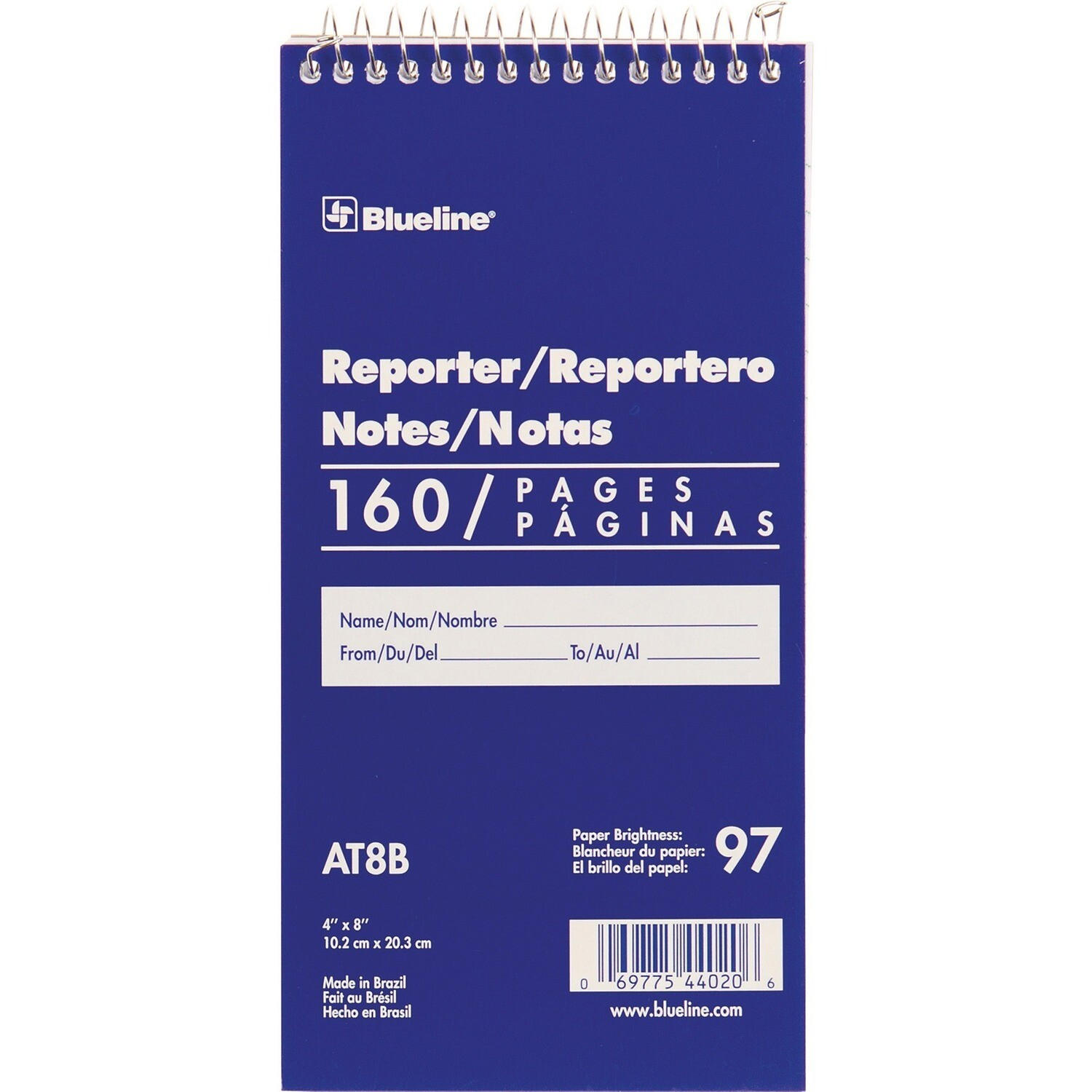 """Reporter Pad, Lined, 4"""" x 8"""" Blue, 160 Pages, Blueline, BLI/AT8B"""