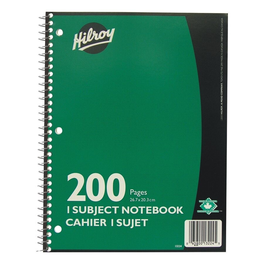 """Notebook, Lined, 8"""" x 10 1/2"""" Assorted Colours, 200 Pages, Hilroy"""