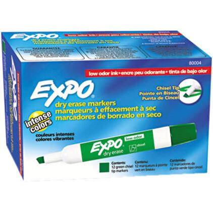 Marker, Whiteboard, Chisel Green, 12 Pack, Expo