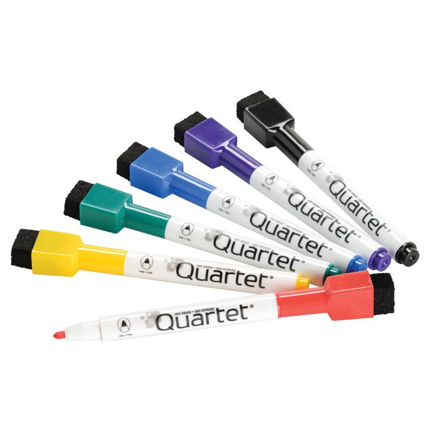 Marker, Whiteboard, Mini Fine Assorted Colours, 6 Pack, Quartet