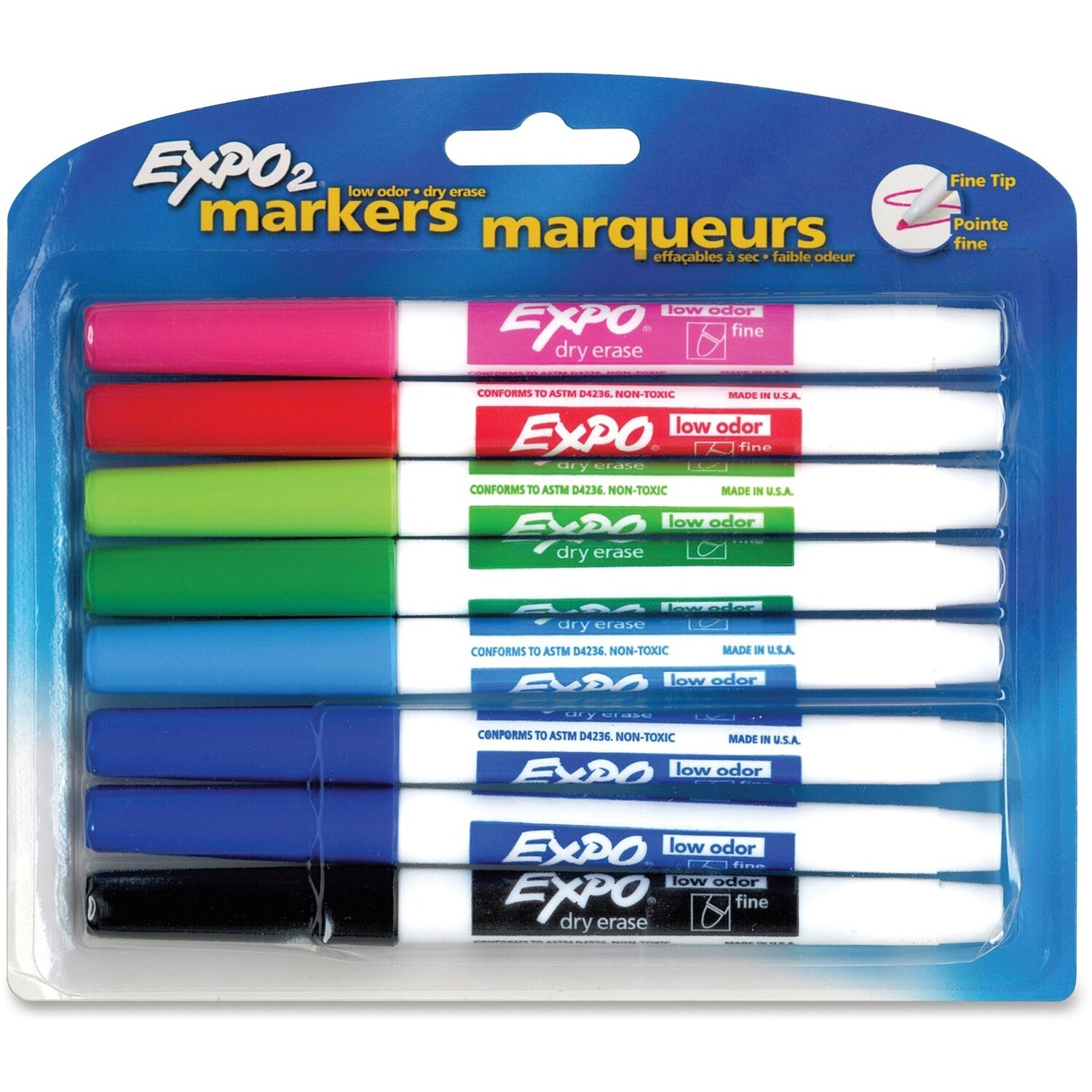 Marker, Whiteboard, Fine Assorted Colours, 8 Pack, Expo