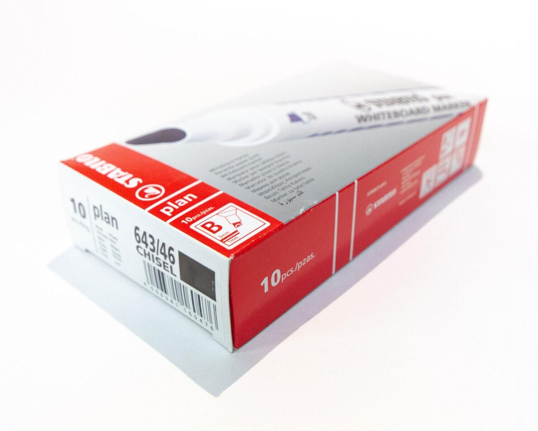 Marker, Whiteboard, Chisel Black, 10 Pack, Stabilo