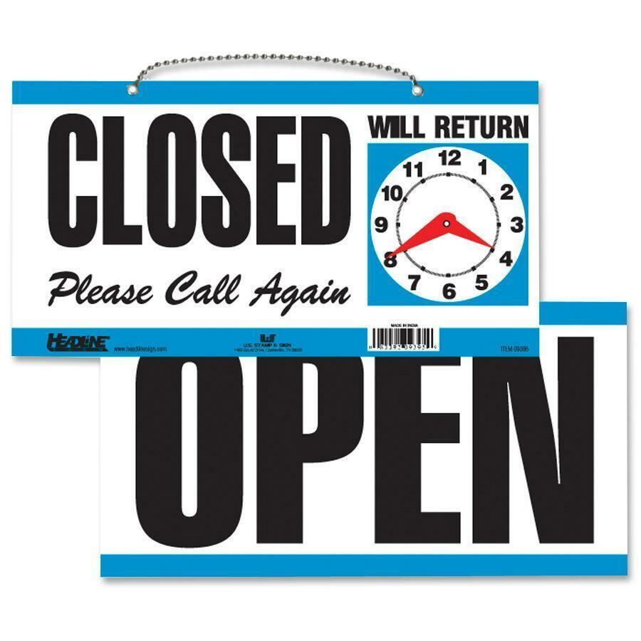"Sign, Open & Closed 6"" x 11 1/2"", Manual Clock, U.S.S."