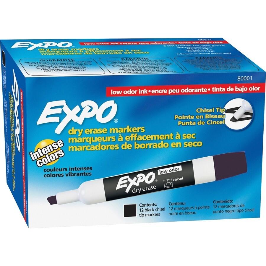 Marker, Whiteboard, Chisel Black, 12 Pack, Expo