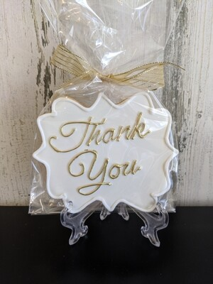 Gold Painted Thank You Cookie
