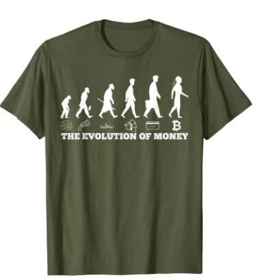 The evolution of money bitcoin BTC crypto cryptocurrency T-Shirt
