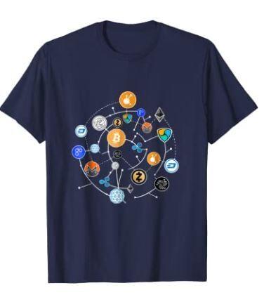 Cryptocurrency T-shirt. Ethereum, Bitcoin, Litecoin, T-shirt
