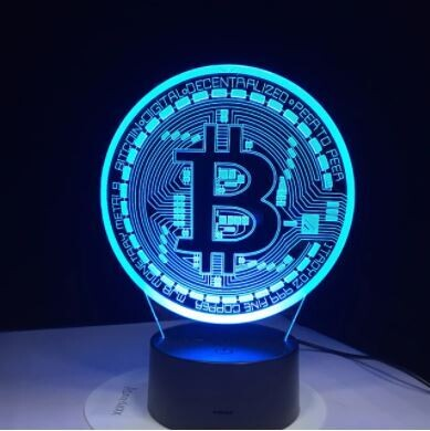 3D Led Lamp Bitcoin Sign modeling night lights 7 colors USB coin desk lamp