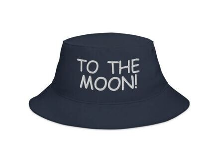 To the moon, crypto related text embroidered on this high quality bucket hat