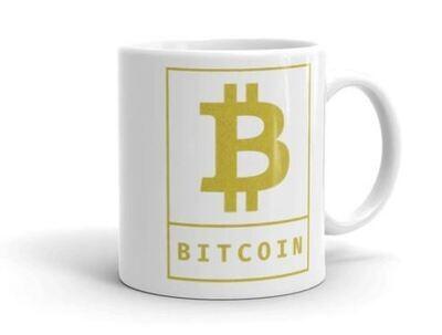 Bitcoin Cryptocurrency Logo Gold, White Glossy Coffee Mug
