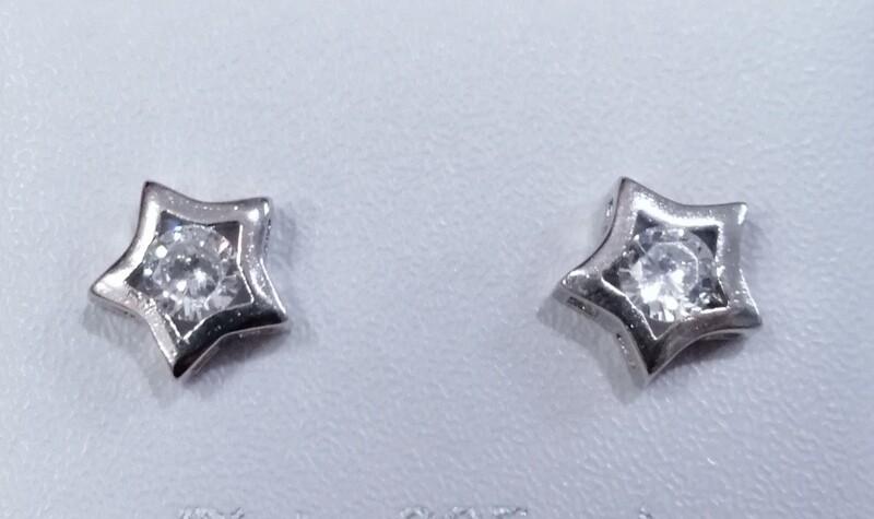 Pendientes estrella plata rodiada con circonita