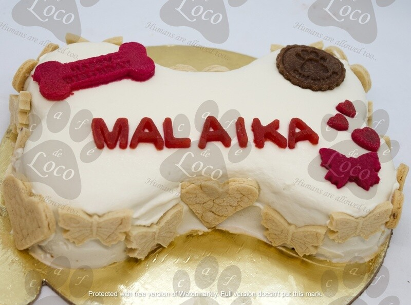 Bone Icing Dog Cake with side cookies