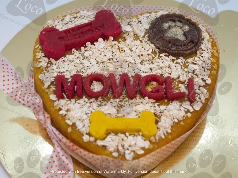 Heart non-icing dog cake