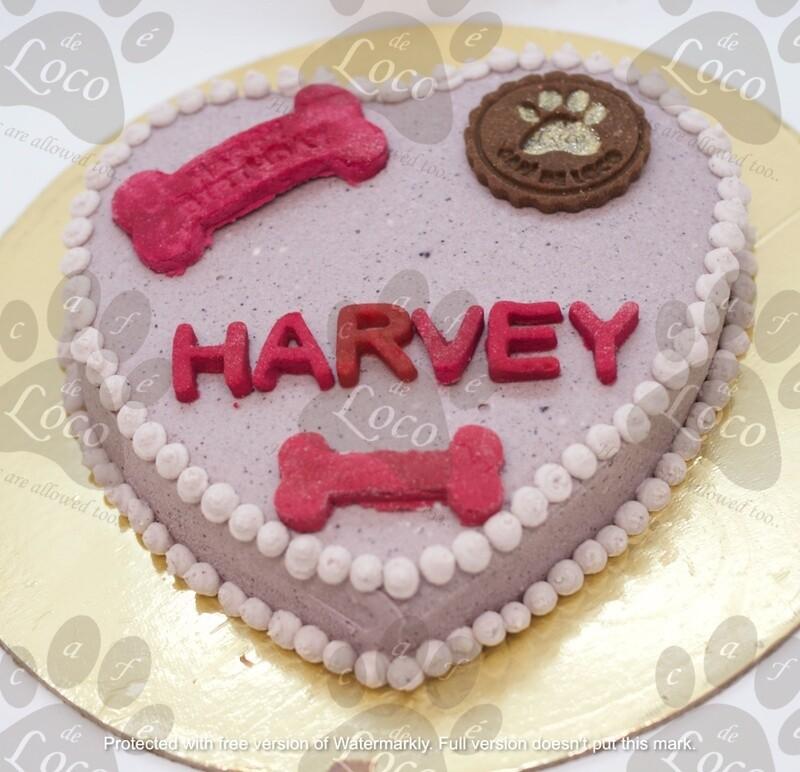Heart Double Icing Dog Cake