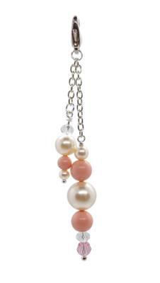 Pink Coral and Swarovski Sparkle bag charm