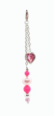 Fuchsia Pink Swarovski Heart bag charm