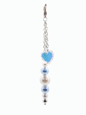 Blue Pearl Swarovski Heart bag charm