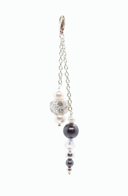 Black and Bling Pearl and Crystal bag charm