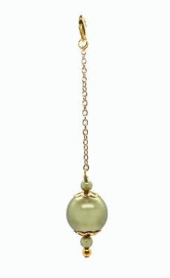 Big Green Pearl goldplated bag charm