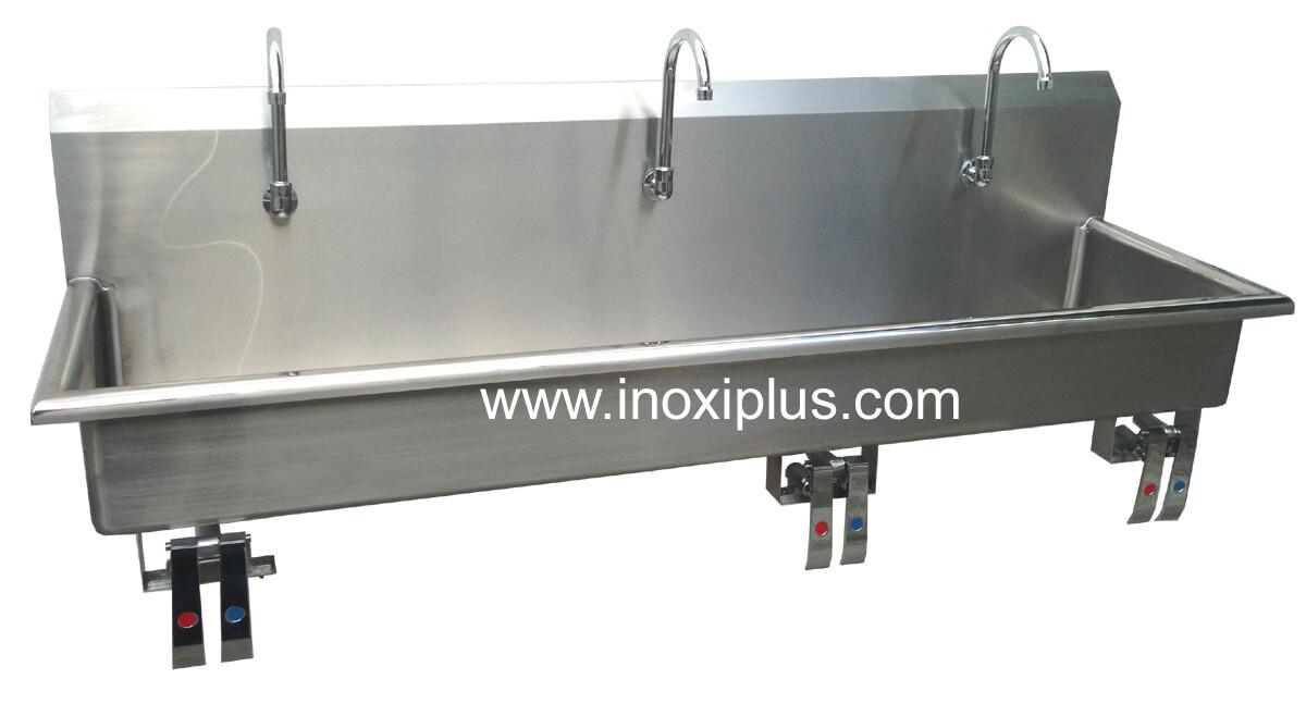 Lavamanos Triple Con Válvulas de Rodilla Agua Fría y Caliente