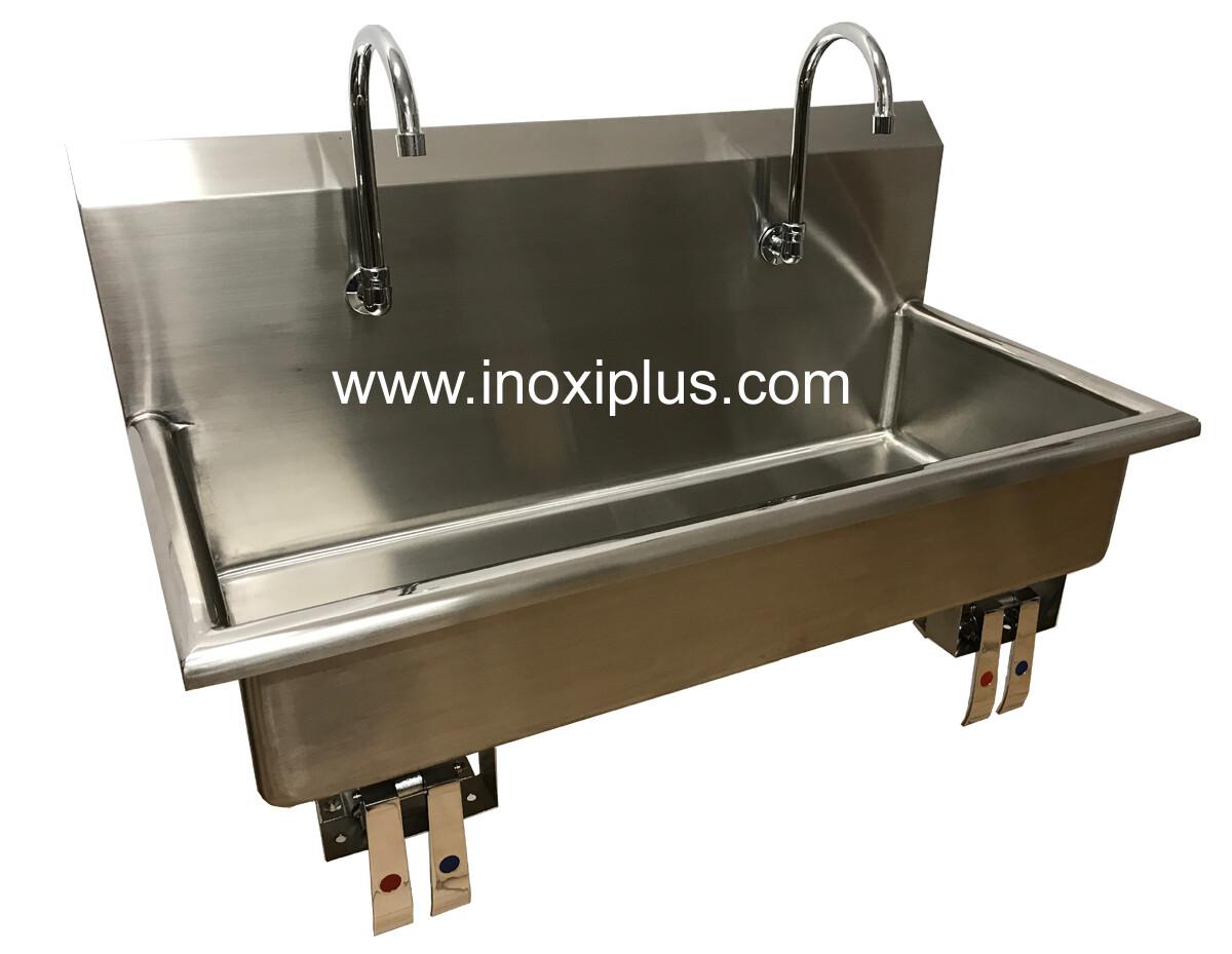 Lavamanos Doble con Válvula de Rodilla Agua Fría y Caliente