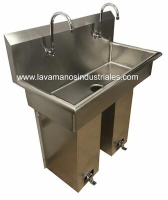 Lavamanos Doble con Válvula de Pié con Pedestal
