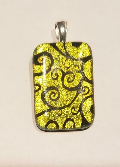 Dichroic etched pendant
