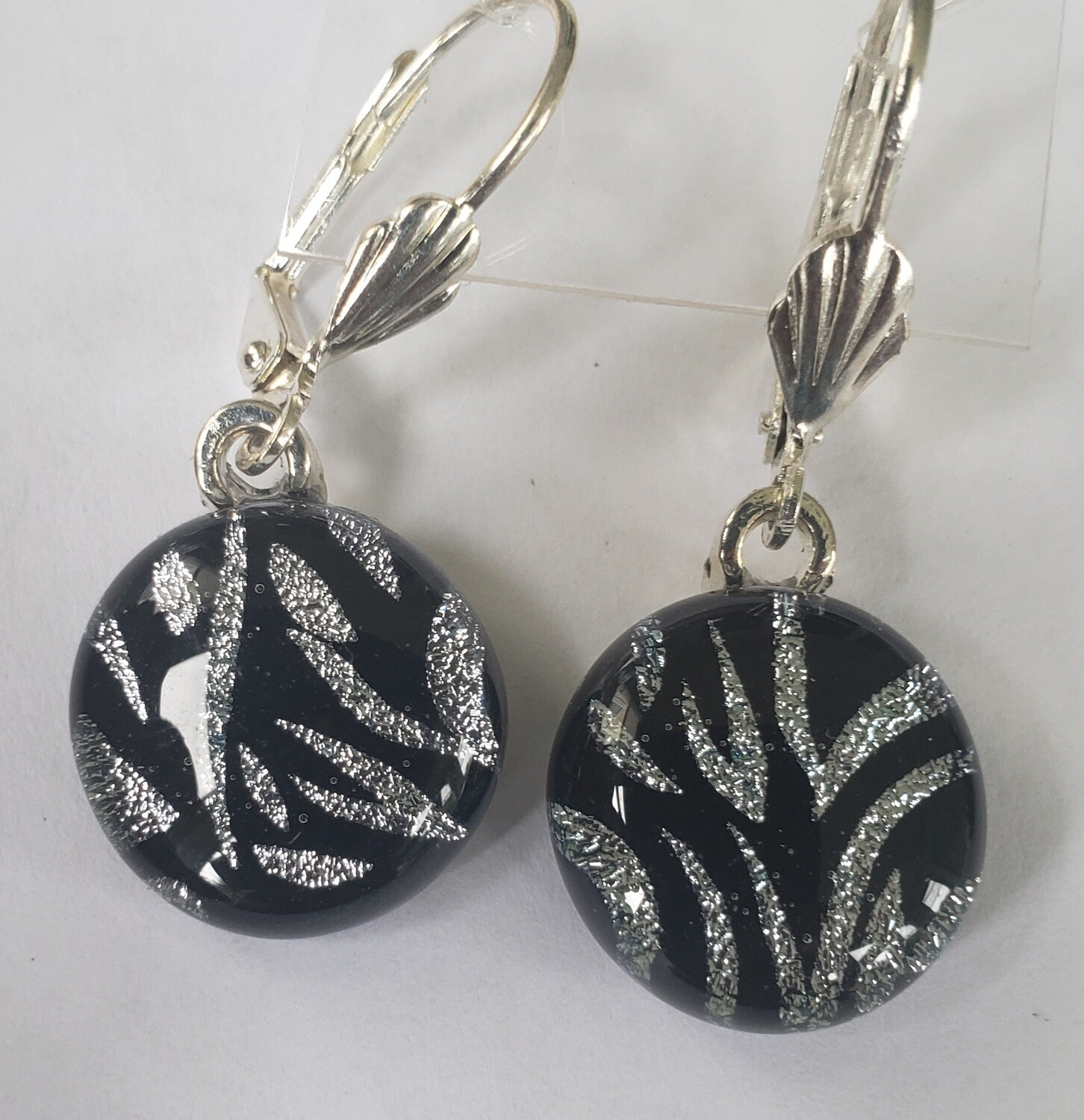 Etched dichroic glass earrings