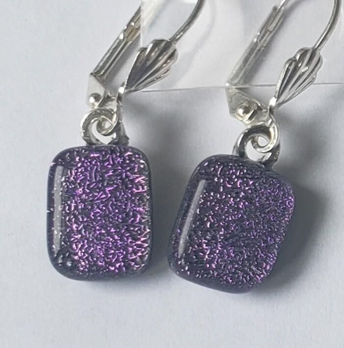 Purple dichroic earrings
