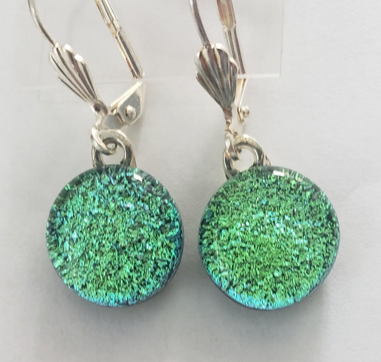 Green dichroic earrings