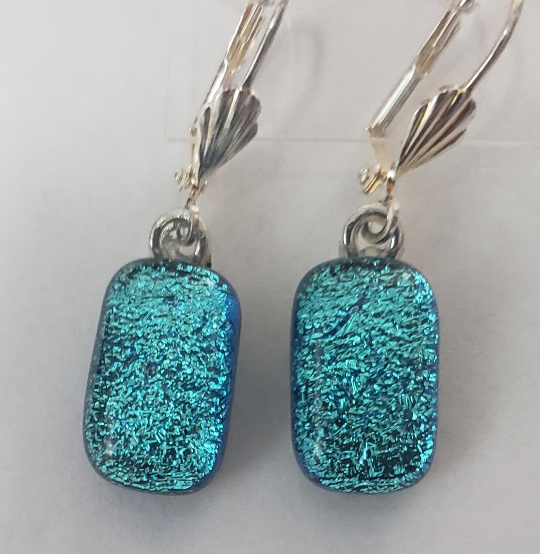 Blue dichroic earrings