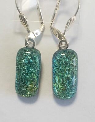 Aqua dichroic earrings