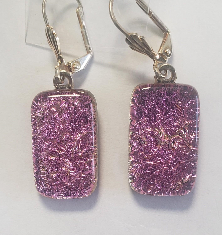 Pink dichroic earrings