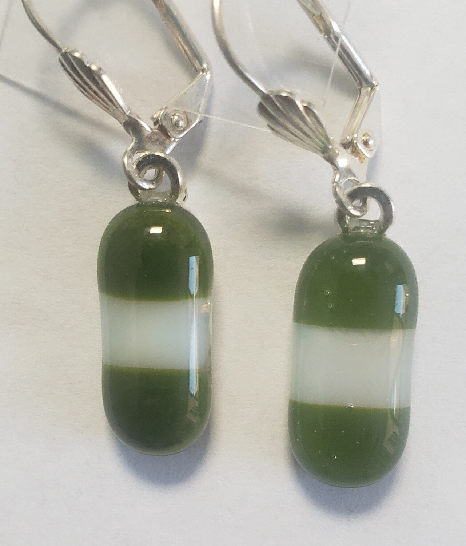 Green/white art glass earrings