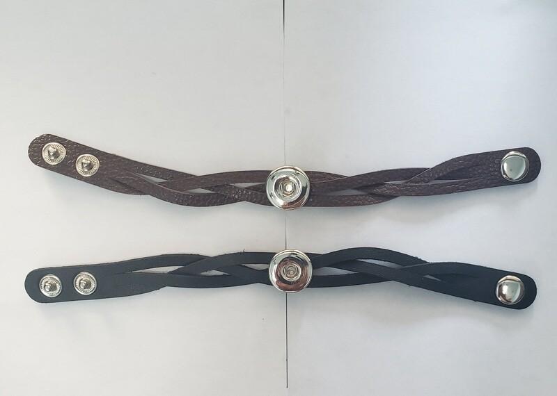 Snap on leather bracelet (black or brown)