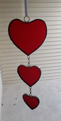 Stained glass hearts suncatcher