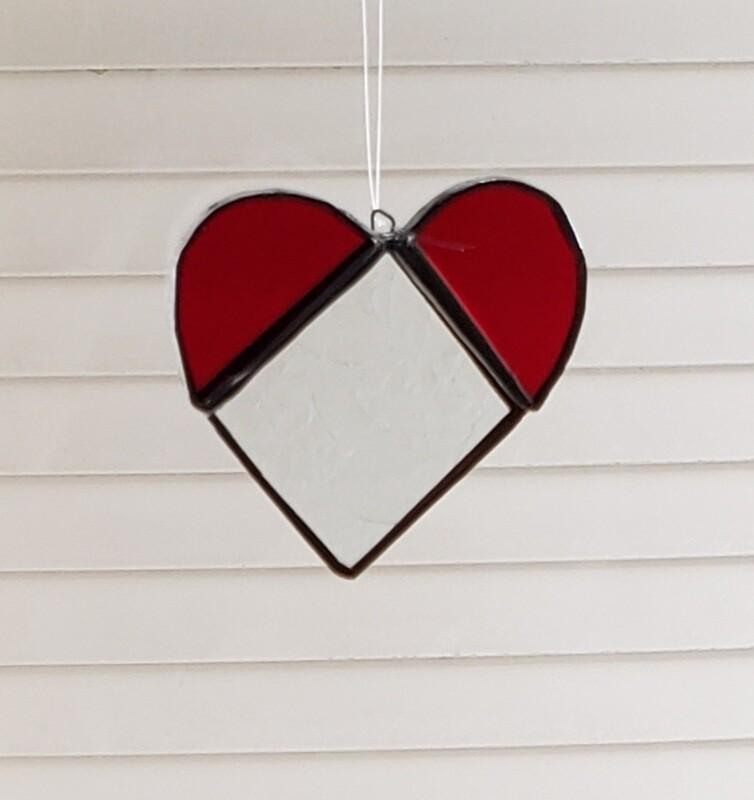 Stained glass 3 piece heart suncatcher