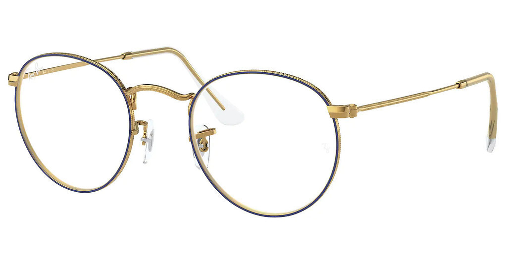 Ray Ban RX3447V Round Metal Blue/Gold Glasses