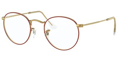 Ray Ban RX3447V Round Metal Red/Gold Glasses